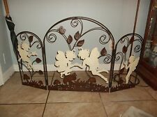 RARE FAIRY 3 PANEL METAL ROOM DIVIDER FIREPLACE DECOR FOLDABLE 45X 26 VERY NICE