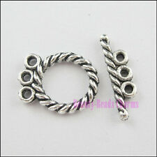 18Sets Tibetan Silver Tone Twist Ring Connector Toggle Clasps