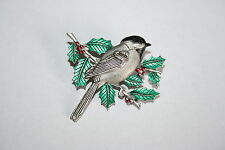 Brooch Pin - JJ Jonette - Chickadee Bird - Holly - Enamel - Silver Pewter Tone