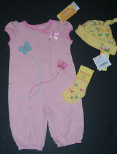 NWT Gymboree Tiny Pond 0-3 Months Butterfly Romper Hat & Socks