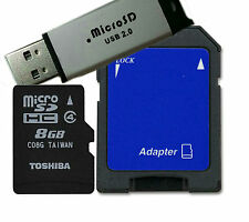 Toshiba 8GB Micro SD Memory Card with SD &Flash memory Adapter - Bulk Pack