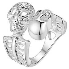 New - Adjustable Male Female 925 Silver Ring Skeletons Ring Jewelry
