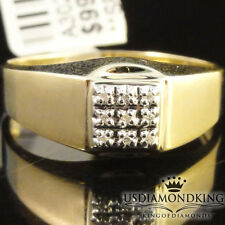 MEN'S 10K 100% YELLOW GOLD GENUINE DIAMOND PINKY RING BAND NEW SZ 10 2.8 GRAMS