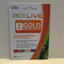 XBOX Live 3 Month Gold Membership for XBOX 360 Kinect Movies TV Actual Card