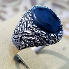 WOW 925 sterling silver men ring black  AGATE stone aqeeq jewelry man rings