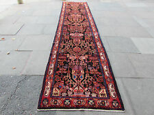 Old Traditional Hand Made Persian Oriental Wool Blue 15 F Long Runner 456x113cm