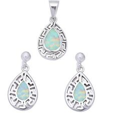 White Opal Filigree design .925 Sterling Silver Earring & Pendant jewelry set