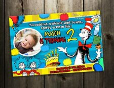 DR. SEUSS CAT IN THE HAT BIRTHDAY PARTY INVITATION CARD CUSTOM INVITE DR BABY 1A
