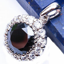 FREE SHIP! Smoky Topaz & Russian CZ .925 Sterling Silver Pendant .5""