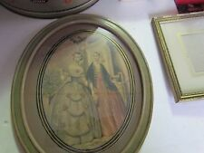 BEAUTIFUL ANTIQUE OVAL PICTURE FRAME REVERSE PAINTED MAT VICTORIAN LADIES HANGER
