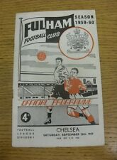 26/09/1959 Fulham v Chelsea  (Creased, Fold, Worn, Rusty Staples).  We are pleas