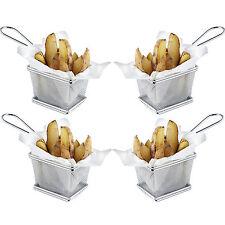 Vonshef mini chrome puce présentation alimentaire au service Fry panier Set de 4
