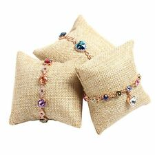 Linen Pillow Cushion Bangle Bracelet Wrist Watch Jewelry Display Holder Showcase