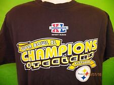 Super Bowl XL Champions PITTSBURG STEELERS T-Shirt Large (2-Sided) NFL Football