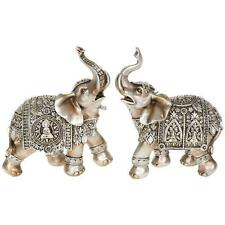 SET OF TWO Silver Buddha Elephant Medium 14 cm Statue Ornament Figurine 45622