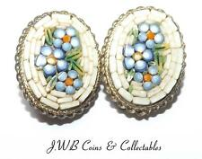 Vintage Pair Of Micro Mosaic Italian Clip On Earrings