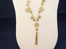 "VINTAGE ESTATE COOKIE LEE BRUSHED GOLD TONE FILIGREE DANGLE 21"" CHAIN NECKLACE"