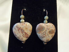 FUNKY COOL Design Shades of TAN Marbled Agate STONE Copper HEART Earrings 13EE16