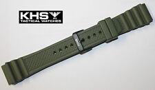 Silikonarmbänder KHS Diverband Grün PVD Dornschließe Gummiband Militäruhr 22 mm