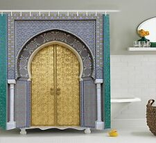 Shower Curtain Antique Gold Door Authentic Moroccan Decor 70 Inches Long