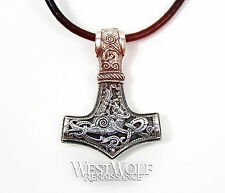 Small Viking/Norse Thor Hammer Pendant - Dragon Beast Mjolnir - Solid 925 Silver