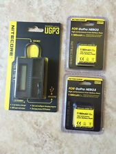 NEW NITECORE UGP3 Intelligent  USB Charger w/ 2 NLGP3 battery For GoPro Hero3/3+