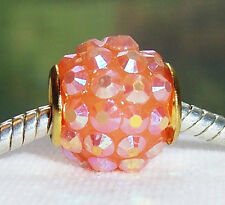 2PC Peach Pink Rhinestone Gold Core Spacer European Bead for Charm Bracelets