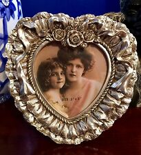 STUNNING BELLA LUX 3x3 Ornate Heart Shaped Victorian Photo Frame Silver NEW