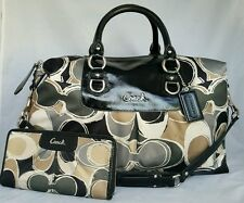 Coach 17656 2pc Scarf ASHLEY Satchel 2way shoulder purse tote +wallet black gray