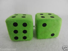 "Neon Green Fuzzy Car Dice- 2.5"" x 2.5"""