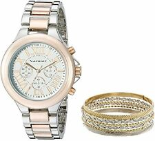 Vernier Womens VNR1100SET Two-Tone Watch and Jewelry Box Set NEW
