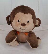 "Plush Monkey Baby Lovey Tan Brown Carters Child of Mine Orange Bow 6"""
