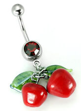 "14g 7/16"" Glass Cherry Drops Belly Button Ring"