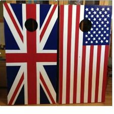 Custom Made  US and Union Jack Flag Cornhole boards and Free Bags