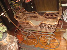 "Antique  Baby/Doll Carriage Victorian Wicker Signed ""Kensington"" Pat'd. 1875"