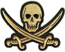 "(A44) GOLD PIRATE SWORD 3"" x 2.25"" sew / iron on patch (1344) Biker Vest Cap"
