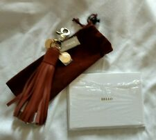 Chico's Brown Leather Tech Tassel Multi-Charger iPhone Android Lightning USB NEW