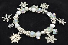 XMAS Snowflake Charm Stretchy Bracelet Alloy Acrylic Beaded Dangle Silver BD34