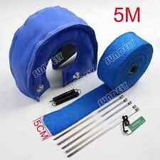 TURBO HEAT SHIELD BLANKET COVER T3 + MANIFOLD DOWNPIPE WRAP 5CM X 5M BLUE