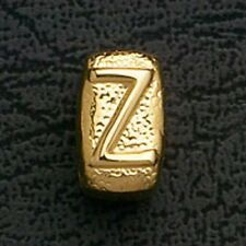 European Beads Charms Initial Z Gold Plated Stainless Steel Charm Bracelet Bead