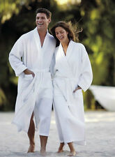 WAFFLE WEAVE WHITE HOTEL QUALITY BATHROBE DRESSING GOWN, FREE TOWELLING SLIPPERS