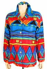 CHICO'S DESIGN Silk Jacket Coat SIZE 1 MEDIUM 8-10 Red Blue Tribal Print Beaded