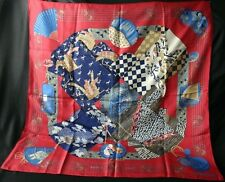 "HERMES ""KIMONOS et INROS"" on Red Ground Silk Twill Scarf"