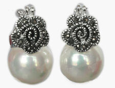 Vintage Marcasite 925 Sterling Silver 12mm White Shell Pearl Earrings