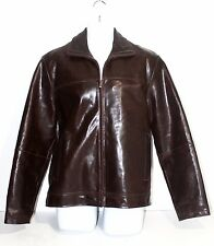 RARE VINTAGE WILSONS M. JULIAN BROWN PATENT LEATHER JACKET SZ M RED LABEL