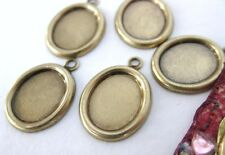 Cameo Setting Antiqued Brass Frame Bezel Vintage Style 10x8mm Cabochon