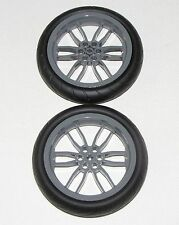 LEGO LOT OF 2 LARGE MOTORCYCLE WHEELS 94.2 X 22 MM BALLON TIRES GREY RIMS