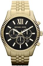 NEW MICHAEL KORS LEXINGTON CHRONOGRAPH BLACK DIAL GOLD TONE UNISEX WATCH MK8286