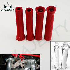 """4 PC SPARK PLUG WIRE INSULATOR PROTECTOR SHIELD BOOT SLEEVE 1"""" INCH DIA  RED"""