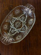 STAR OF DAVID CLEAR GLASS  DIVIDED RELISH TRAY DISH , VINTAGE